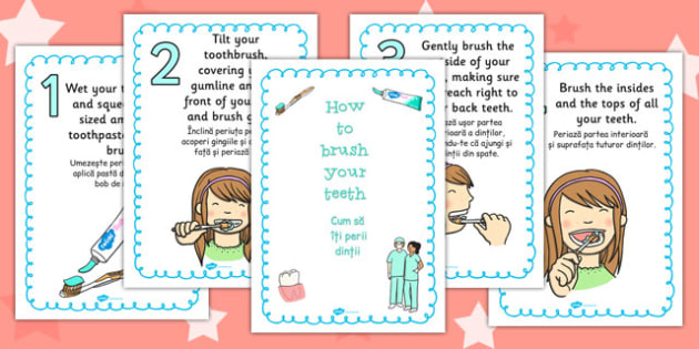 How to Brush Your Teeth Posters Romanian Translation - romanian