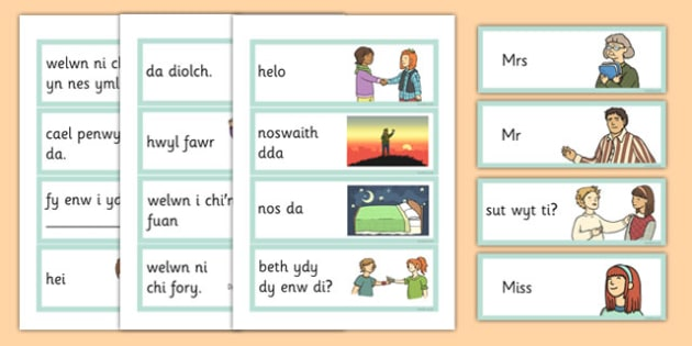 Greetings Flashcards Cymraeg - cymraeg, greetings, flashcards, welsh, language