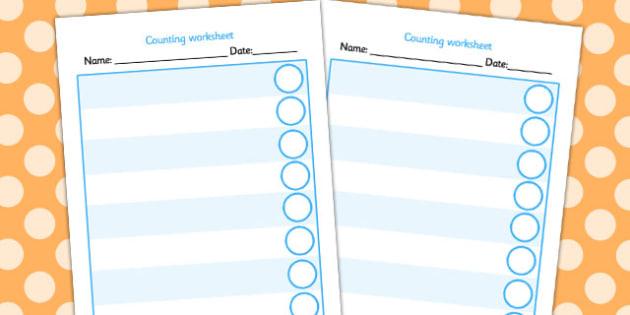 Editable Counting Worksheet - counting, worksheet, editable