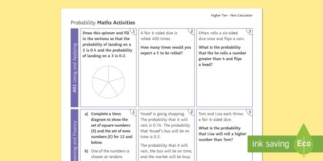 Higher Probability Non Calculator Revision Activity Mat