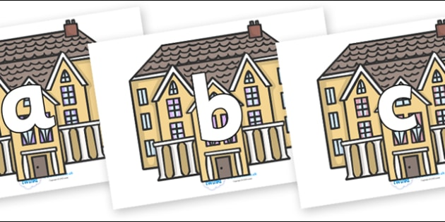 Phoneme Set on Houses - Phoneme set, phonemes, phoneme, Letters and Sounds, DfES, display, Phase 1, Phase 2, Phase 3, Phase 5, Foundation, Literacy