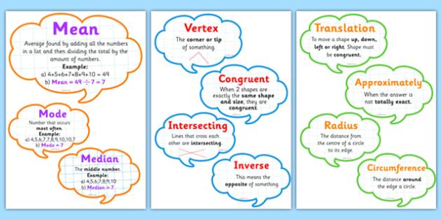 Maths Vocabulary Display Bubbles - maths vocabulary, numeracy vocabulary, ks2 numeracy vocabulary, numeracy vocab speech bubbles, maths vocabulary display