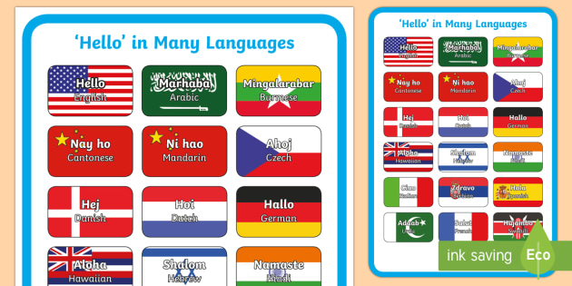 Hello in Many Languages Display Poster - Languages, Diversity, Hello, different languages, inclusive, friendship