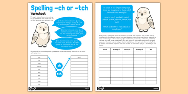 Spelling '-tch' and '-ch' activity sheet - spelling, tch, ch, worksheet