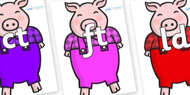 Final Letter Blends on Pigs - Final Letters, final letter, letter blend, letter blends, consonant, consonants, digraph, trigraph, literacy, alphabet, letters, foundation stage literacy