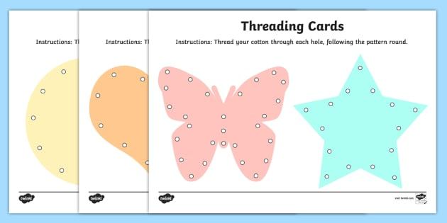 Fine Motor Skills Threading Cards - motor skill, activities, card