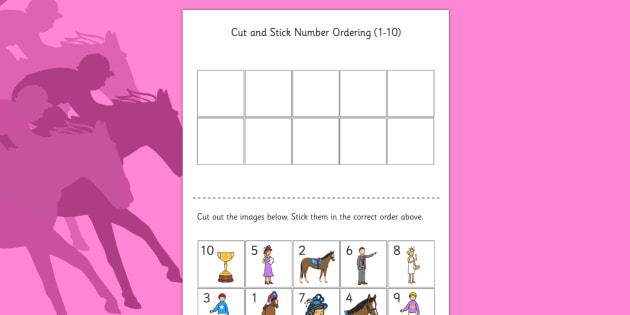 The Melbourne Cup Cut and Stick Number Ordering Sheets - australia, melbourne cup, ordering