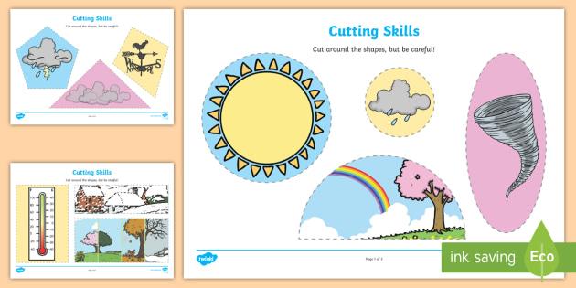 Weather-Themed Cutting Skills Worksheets - cut, fine motor skills