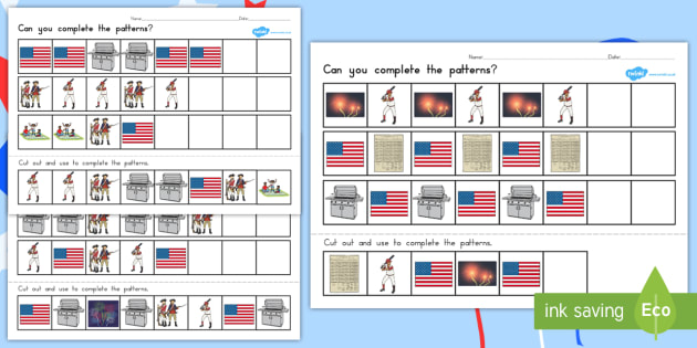 Independence Day Complete the Pattern Worksheet - independence