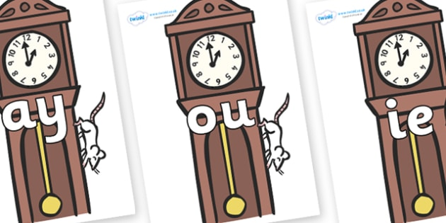 Phase 5 Phonemes on Clocks - Phonemes, phoneme, Phase 5, Phase five, Foundation, Literacy, Letters and Sounds, DfES, display