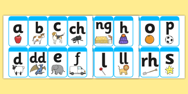 Large Phase 1 (A-Z) Mnemonic Word / Image Cards (Welsh) - Phonemes, Phase 1, Phase one, A-Z, Mnemonic cards, DfES Letters and Sounds, Letters and sounds, Letter flashcards, Image and Word Cards,cymru