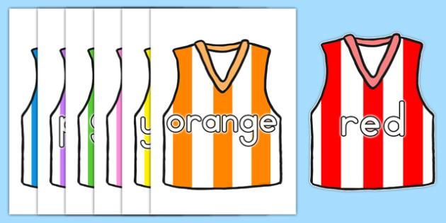AFL Australian Football League Colour Names on AFL Football Vests