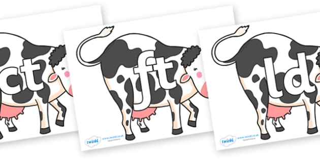 Final Letter Blends on Bullabaloo Cow to Support Teaching on Farmyard Hullabaloo - Final Letters, final letter, letter blend, letter blends, consonant, consonants, digraph, trigraph, literacy, alphabet, letters, foundation stage literacy