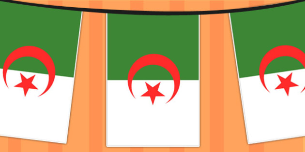 Algeria A4 Flag Bunting - countries, geography, flags, country