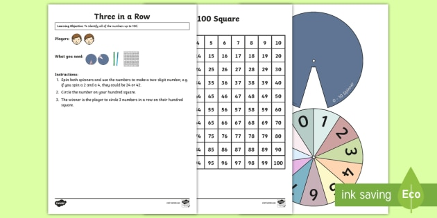 Three in a Row Maths Game  - place value, number sequence, number ordering 1- 100, two digit numbers, reasoning
