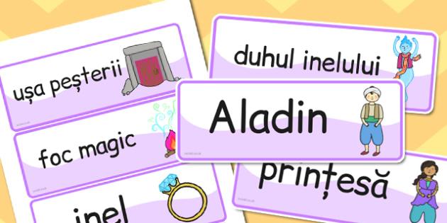 Aladdin cartonase cu imagini si cuvinte din poveste, Romanian