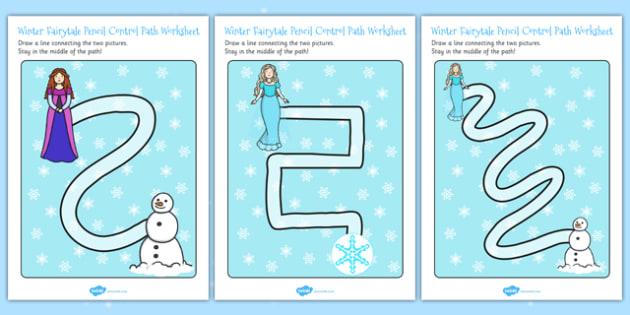 Winter Fairytale Pencil Control Path Worksheets - control, frozen