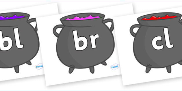 Initial Letter Blends on Cauldron - Initial Letters, initial letter, letter blend, letter blends, consonant, consonants, digraph, trigraph, literacy, alphabet, letters, foundation stage literacy