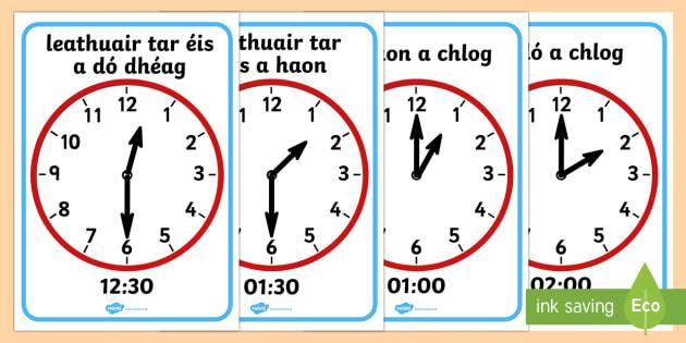 O' Clock and Half Past on Clocks Display Posters Gaeilge - Requests - ROI, Gaeilge, Irish, Clocks, Time, Am, An t-am, Clog, An Chlog, Irish
