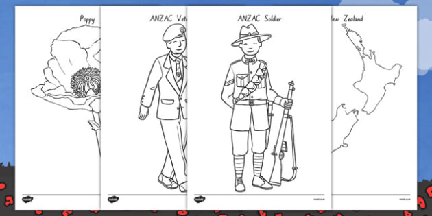 New Zealand Anzac Day Colouring Sheets - nz, new zealand, anzac day, colouring sheets, colour