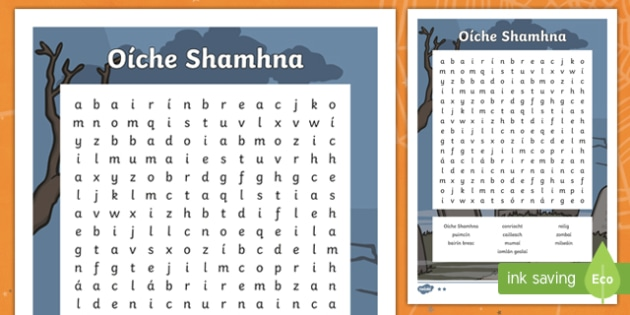 Oíche Shamhna Differentiated Word Search Gaeilge