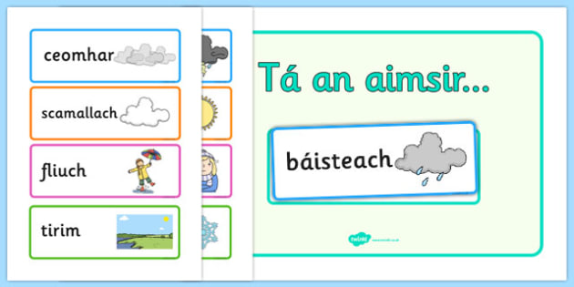 Weather Display Gaeilge - weather, forecast, irish, roi, poster, classroom, primary, aimsir