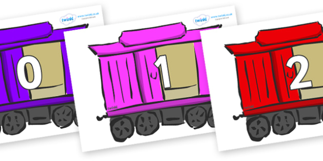 Numbers 0-31 on Carriages - 0-31, foundation stage numeracy, Number recognition, Number flashcards, counting, number frieze, Display numbers, number posters