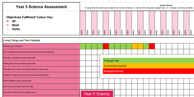 Y5 Science Assessment Spreadsheet