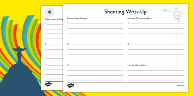 The Olympics Shooting Write Up Activity Sheet - the olympics, rio olympics, 2016 olympics, rio 2016, shooting, write up, activity, worksheet