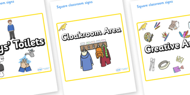 Canary Themed Editable Square Classroom Area Signs (Plain) - Themed Classroom Area Signs, KS1, Banner, Foundation Stage Area Signs, Classroom labels, Area labels, Area Signs, Classroom Areas, Poster, Display, Areas