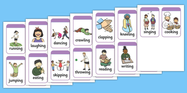 Simple Action Charades Cards - simple, action, charades, cards
