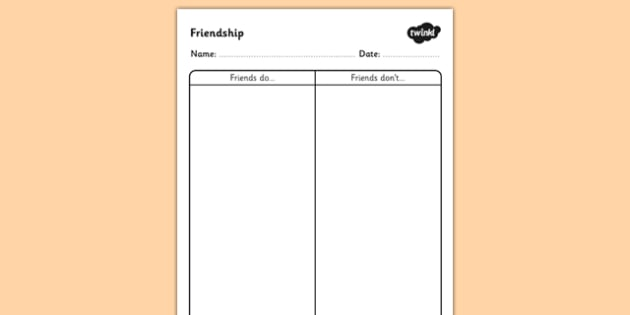 What Friends Do and Don't Do Worksheet - friendship worksheet, friendships and relationships, friends, what friends do worksheet, what friend don't do