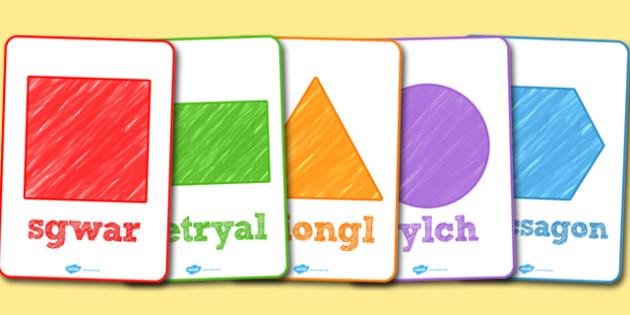 Posteri Siapiau 2D - cornel mathemateg, 2d, shapes, poster, display, welsh