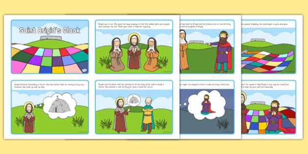 Saint Brigid's Cloak Story Sequencing 4 per A4 - saint brigid, irish history, ireland, saint, patron, sequencing cards