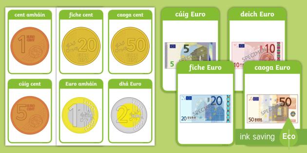 Airgead Flashcards - Gaeilge, Siopadóireacht, Irish, shopping, money, airgead, euro,Irish