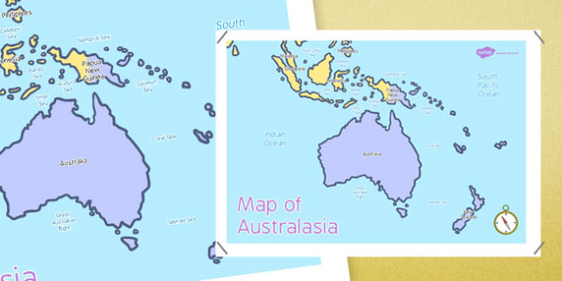 Map of Australasia - australasia, map, continent, countries