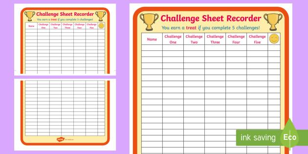 Challenge Sheet Recorder - challenge sheet, recorder, 2xa4, challenge, sheet