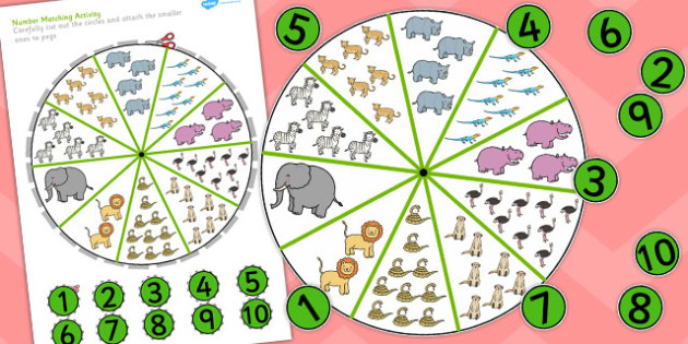 Safari Animals Number Matching Pegs Activity  - safari, matching, pegs