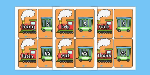 Suffixes and Prefix Trains '-s', '-es' - suffixes, prefix, trains, s, es, literacy, english