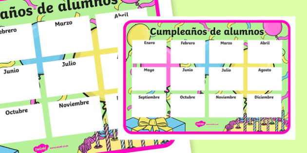 Cumpleaños de alumnos - spanish, Classroom Organisation, pupil birthday, display poster, record, teacher planning