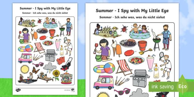 Summer Themed I Spy With My Little Eye Activity English/German - Summer Themed I Spy With My Little Eye Activity - games, game, summertime, Timw, wheres wally, EAL,
