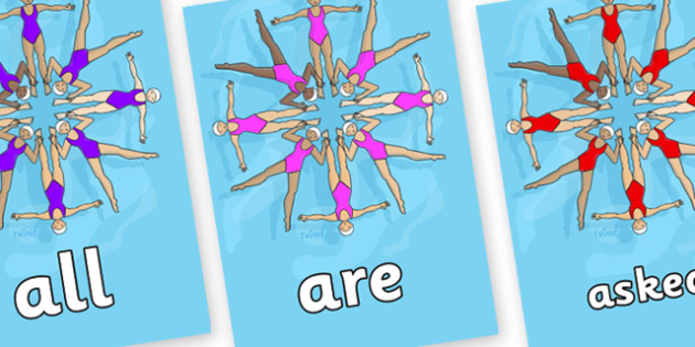 Tricky Words on Synchronised Swimmers - Tricky words, DfES Letters and Sounds, Letters and sounds, display, words