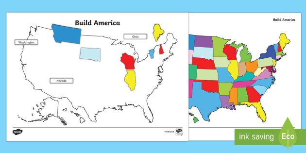 Build the USA States Map Jigsaw Puzzle
