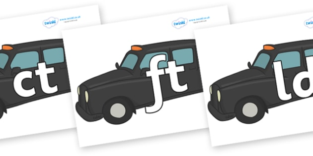 Final Letter Blends on Taxis - Final Letters, final letter, letter blend, letter blends, consonant, consonants, digraph, trigraph, literacy, alphabet, letters, foundation stage literacy