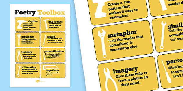Poetry Tools Poster - poem, poems, poetry display, writing aid