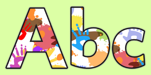 Messy Play Themed Display Lettering - display, lettering, messy
