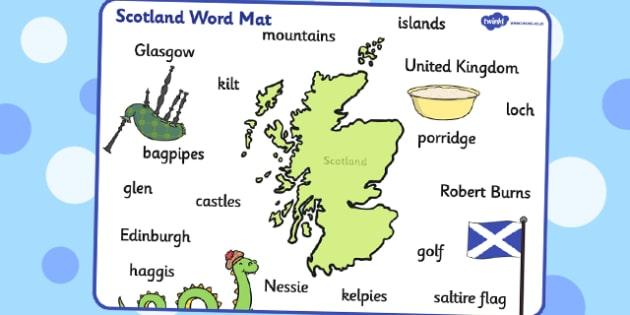 Scotland Word Mat - scotland, word mat, word, mat, britain