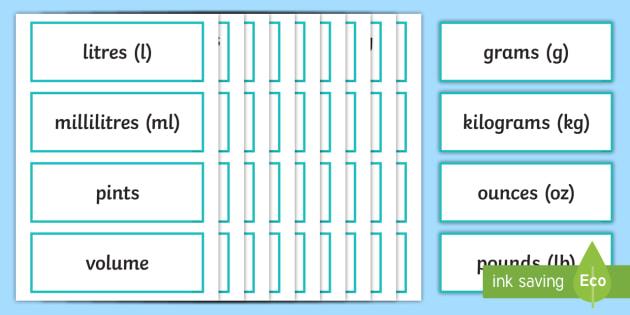 Year 5 2014 Curriculum Measurement Vocabulary Cards - measure