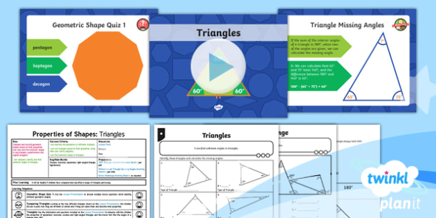 PlanIt Y6 Properties of Shapes Lesson Pack Classifying Geometric Shapes (1) - Properties of Shape, 2D shapes, polygons, triangles, comparing shapes, classifying shapes, triangle