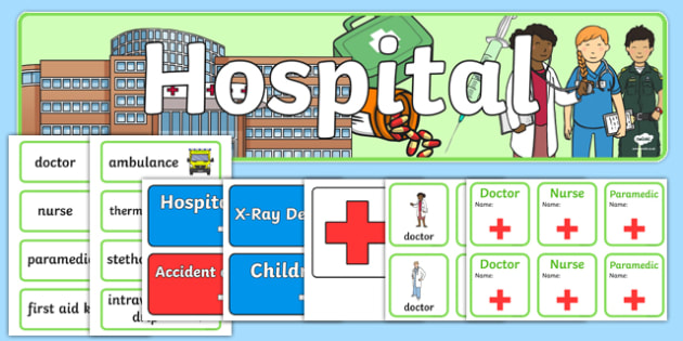 Hospital Role Play Resources - Hospital Role Play, hospital resources, Role Play Pack - role play, Display signs, display, labels, packpeople who help us, nurser, doctor, hospital, ward, bandages, role play, display, poster